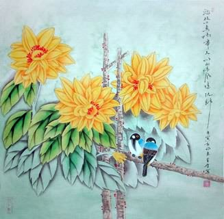 Chinese Chrysanthemum Painting,69cm x 69cm,2617018-x