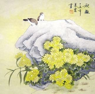 Chinese Chrysanthemum Painting,66cm x 66cm,2703019-x