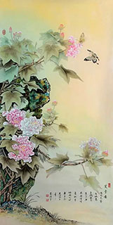 Chinese Cotton Rose Painting,65cm x 134cm,2384007-x