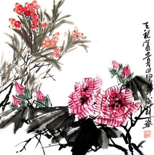 Chinese Cotton Rose Painting,33cm x 33cm,2399002-x