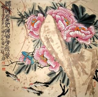Chinese Cotton Rose Painting,69cm x 69cm,2399003-x