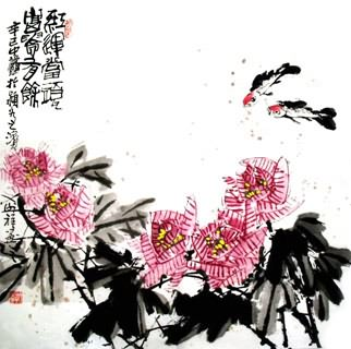Chinese Cotton Rose Painting,69cm x 69cm,2399004-x