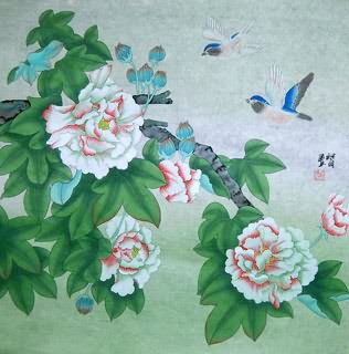 Chinese Cotton Rose Painting,69cm x 69cm,2404002-x