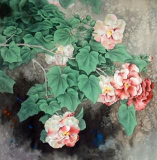 Chinese Cotton Rose Painting,66cm x 66cm,2421001-x