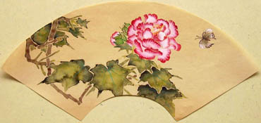 Chinese Cotton Rose Painting,19cm x 27cm,2421003-x