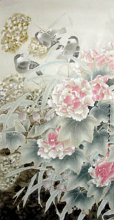 Chinese Cotton Rose Painting,66cm x 130cm,2601006-x
