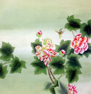 Chinese Cotton Rose Painting,66cm x 66cm,2603006-x
