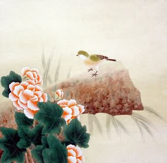 Chinese Cotton Rose Painting,66cm x 66cm,2603007-x