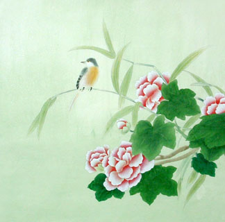 Chinese Cotton Rose Painting,66cm x 66cm,2603008-x