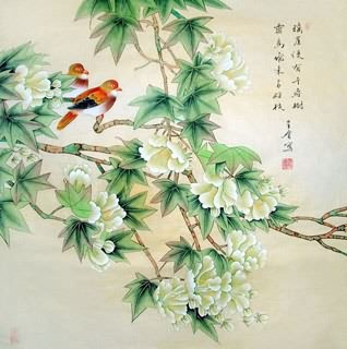 Chinese Cotton Rose Painting,69cm x 69cm,2617012-x