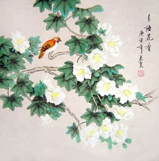 Chinese Cotton Rose Painting,66cm x 66cm,2703017-x