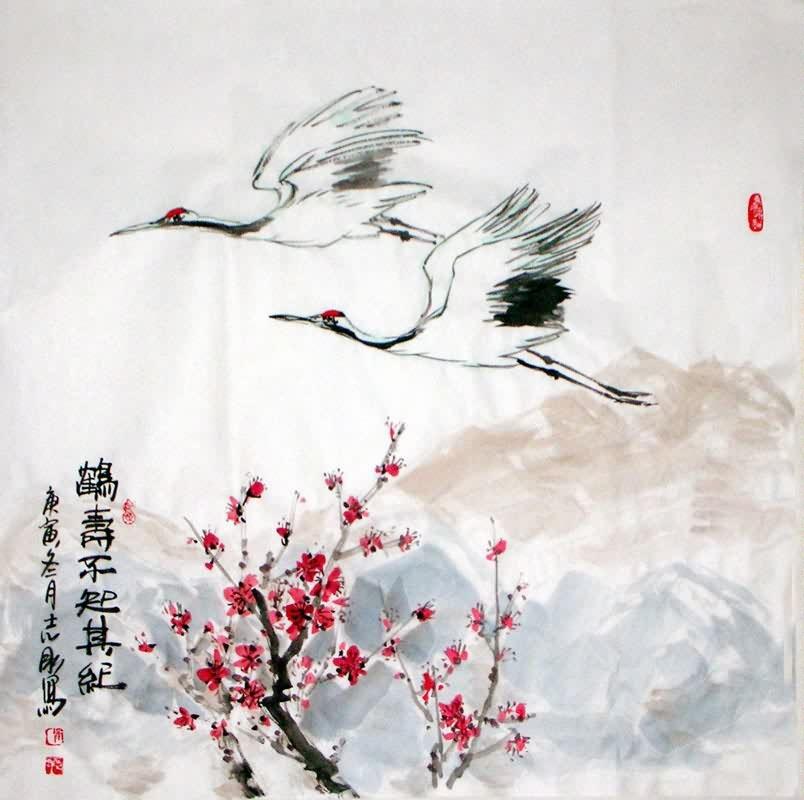 Chinese Crane Painting crane 2360075, 69cm x 69cm(27〃 x 27〃) - photo#28