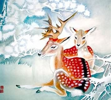 Chinese Deer Painting,45cm x 45cm,4367001-x