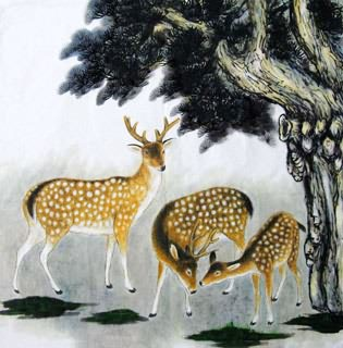 Chinese Deer Painting,69cm x 69cm,4449005-x