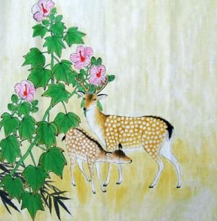 Chinese Deer Painting,69cm x 69cm,4449007-x