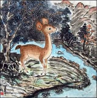 Chinese Deer Painting,50cm x 50cm,4449008-x