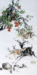 Chinese Deer Painting,69cm x 138cm,4456001-x