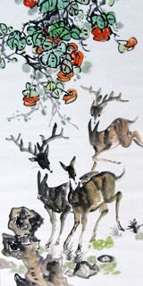 Chinese Deer Painting,69cm x 138cm,4456002-x