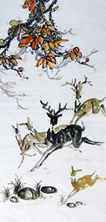 Chinese Deer Painting,69cm x 138cm,4456003-x