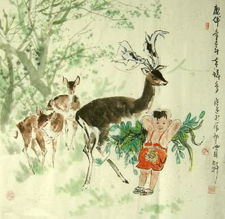 Chinese Deer Painting,66cm x 66cm,4457002-x