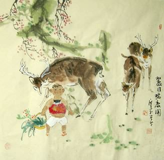 Chinese Deer Painting,66cm x 66cm,4457003-x