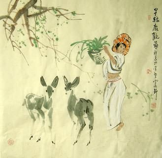 Chinese Deer Painting,66cm x 66cm,4457005-x