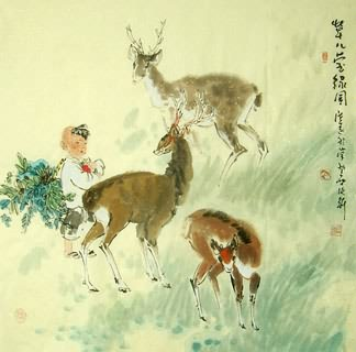 Chinese Deer Painting,66cm x 66cm,4457006-x
