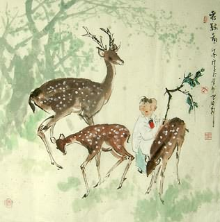 Chinese Deer Painting,66cm x 66cm,4457007-x