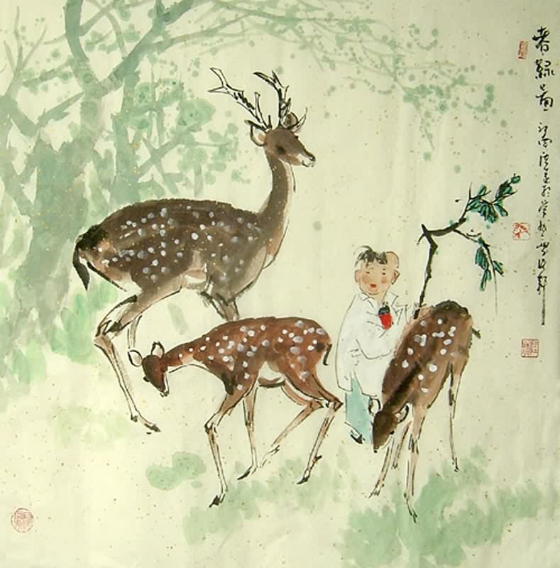 Chinese Deer Painting Chinese Deer Painting,66cm