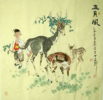 Chinese Deer Painting,66cm x 66cm,4457008-x