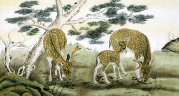 Chinese Deer Painting,97cm x 180cm,4602004-x