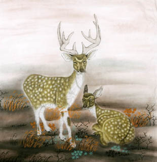 Chinese Deer Painting,90cm x 90cm,4602005-x