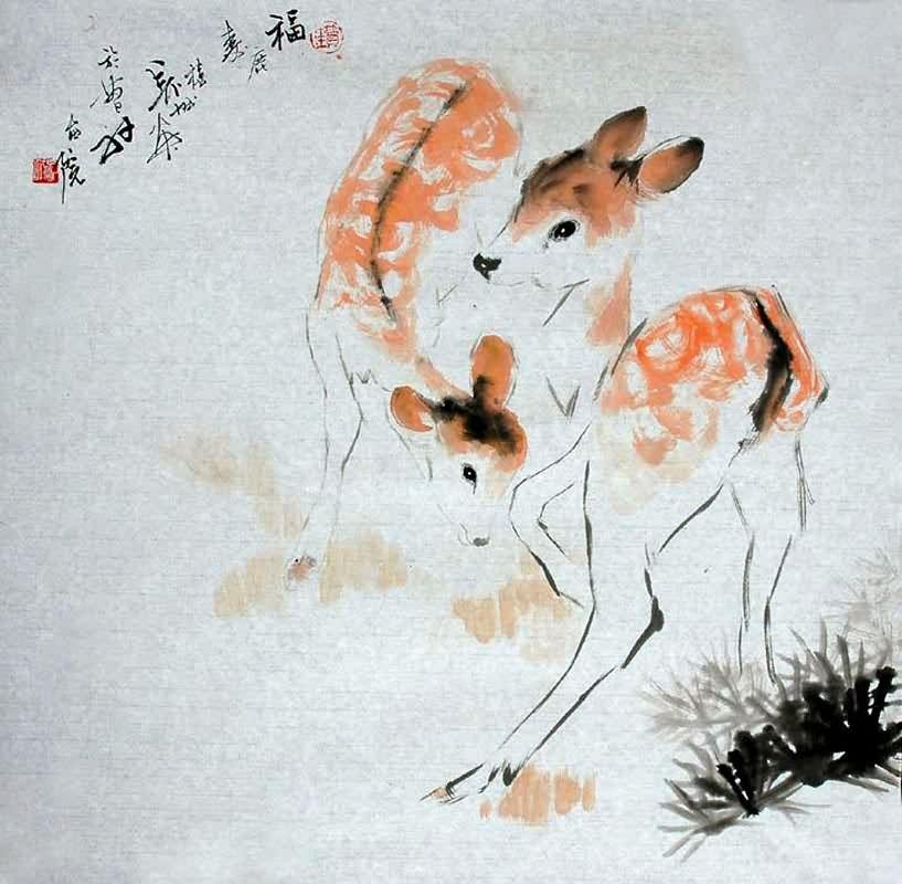 Chinese Deer Painting Chinese Deer Painting,69cm