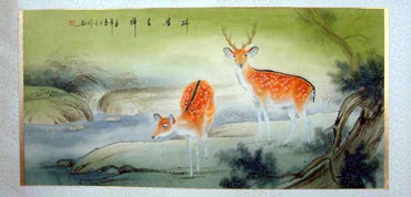 Chinese Deer Painting,66cm x 130cm,4737044-x