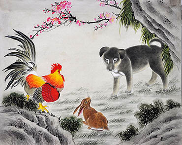 Chinese Dog Painting,40cm x 50cm,4011001-x