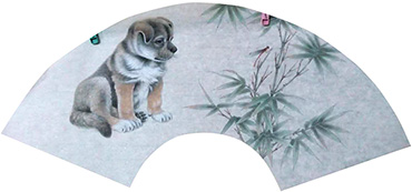 Chinese Dog Painting,60cm x 21cm,4011002-x