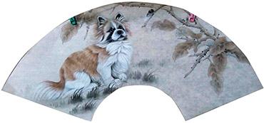 Chinese Dog Painting,60cm x 21cm,4011006-x