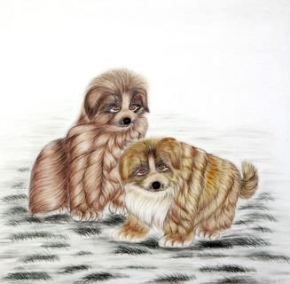 Chinese Dog Painting,66cm x 66cm,4340014-x
