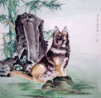 Chinese Dog Painting,66cm x 66cm,4374015-x