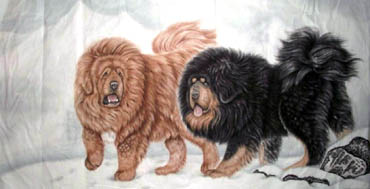 Chinese Dog Painting,97cm x 180cm,4445006-x