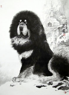 Chinese Dog Painting,95cm x 130cm,4445009-x