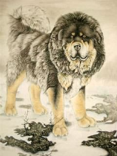 Chinese Dog Painting,70cm x 90cm,4460004-x