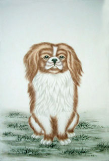 Chinese Dog Painting,43cm x 65cm,4460008-x