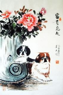 Chinese Dog Painting,69cm x 46cm,4467001-x
