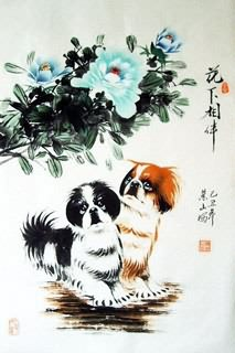 Chinese Dog Painting,69cm x 46cm,4467002-x