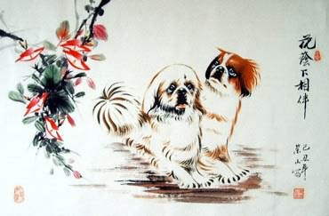 Chinese Dog Painting,69cm x 46cm,4467003-x