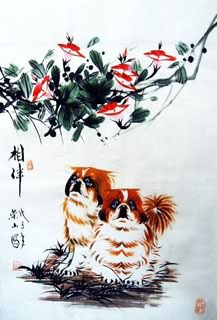 Chinese Dog Painting,69cm x 46cm,4467004-x