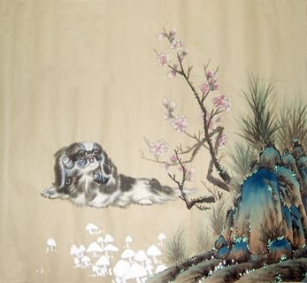 Chinese Dog Painting,50cm x 50cm,4468001-x