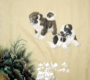 Chinese Dog Painting,50cm x 50cm,4468003-x
