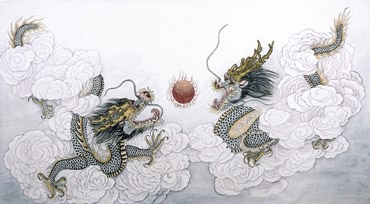 Chinese Dragon Painting,70cm x 125cm,4660006-x